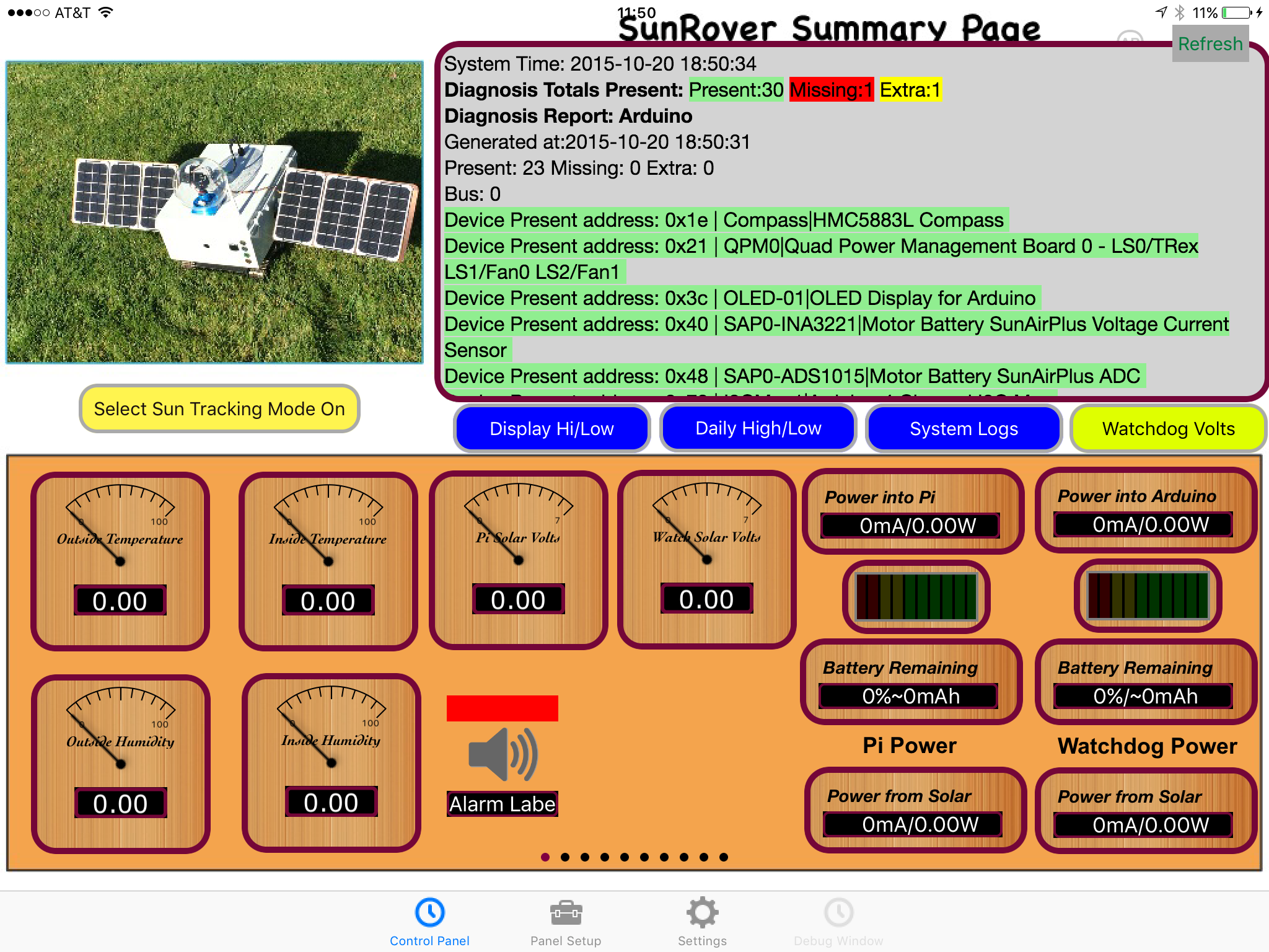 Is the SunRover Robot Sick?  Diagnosis and Control Panels Coming Up.