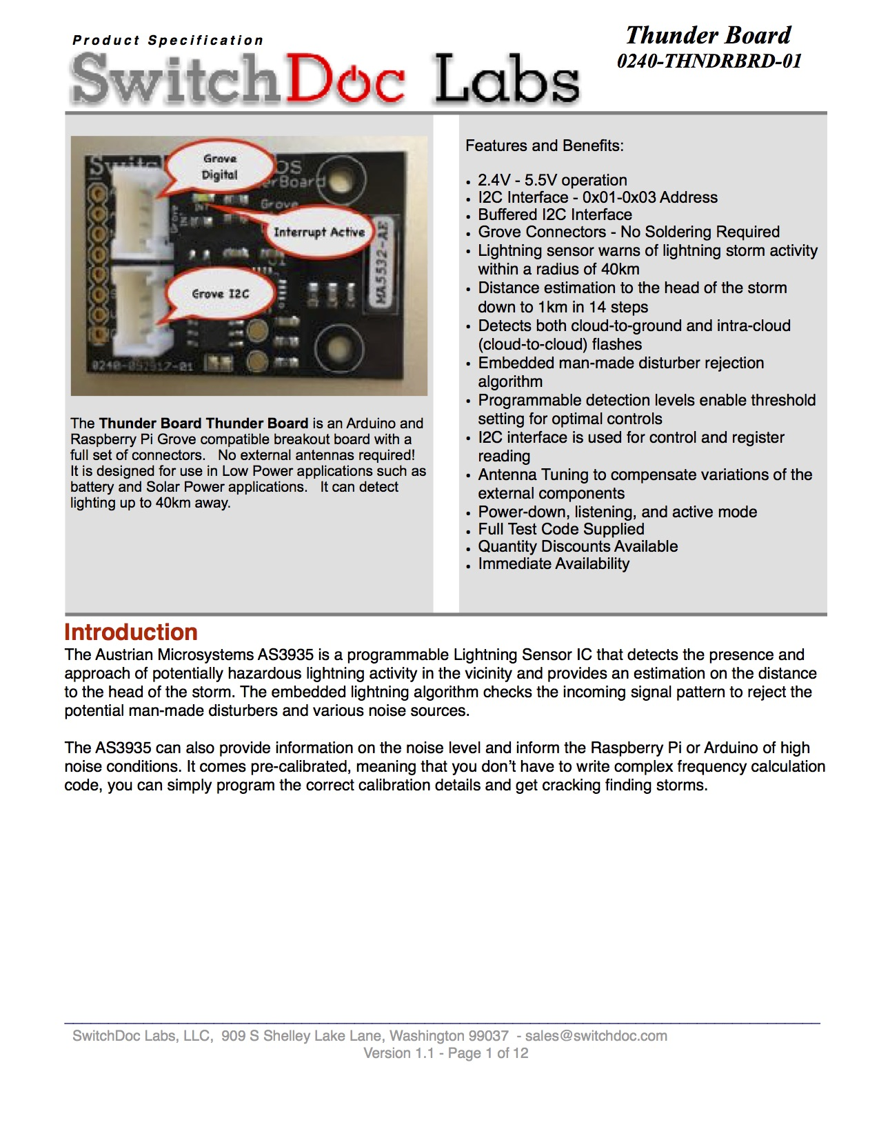 Thunder Board Lightning Detector Specification Released